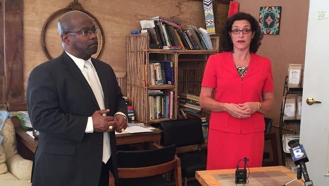 County legislator James Sheppard and City Council member Molly Clifford.