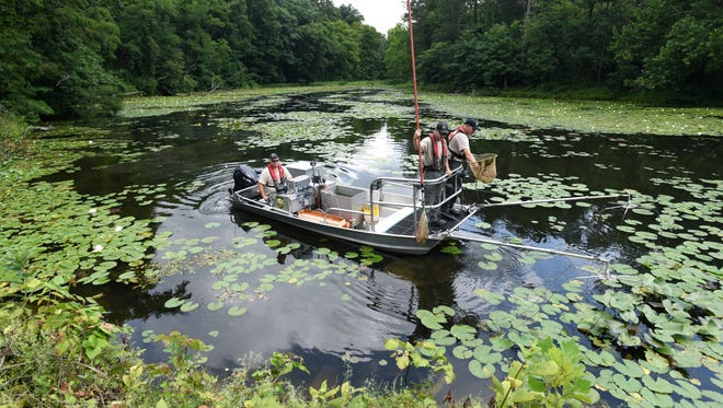 The Ohio Department of Natural Resources had a pair of electro-fishing boats on Cutler Lake in Blue Rock State Park on Monday to remove as many fish as possible from the lake before the lake is lowered for repair work on the lake's dam.