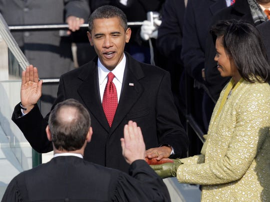 Barack Obama takes the oath of office from Chief Justice John Roberts, Jan. 20, 2009. It didn't go as planned so they did it again the next day in the White House.