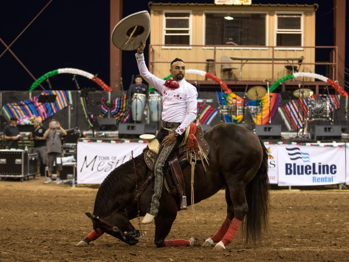 Charro Daniel Castro and Chico his horse take a bow