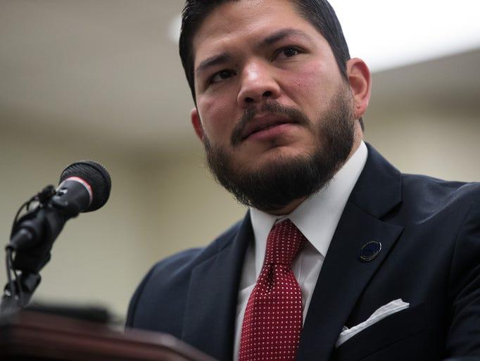Nueces County District Attorney Mark Gonzalez announces