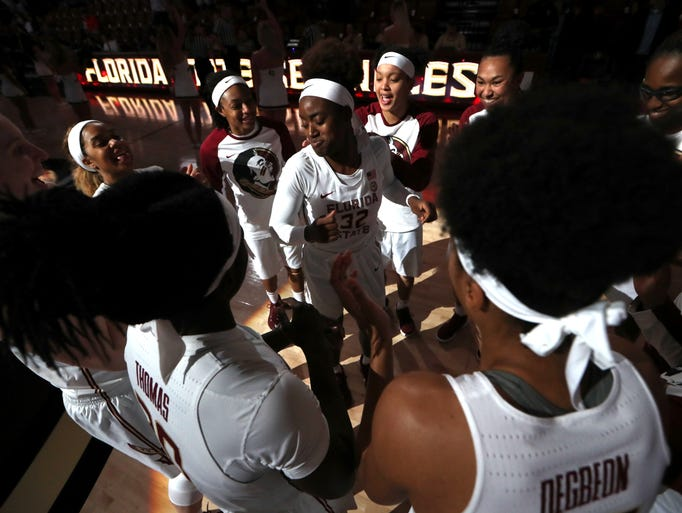 FSU's Imani Wright dances with her teammates before