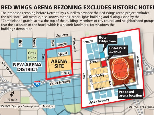 The latest plans for the new Red Wings arena have raised concerns among community members and historic preservation advocates that the well-known Hotel Park Avenue could be torn down.