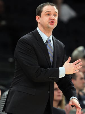 Butler coach Brandon Miller gestures from the sidelines against the Seton Hall Pirates during the first half in the first round of the Big East tournament at Madison Square Garden.