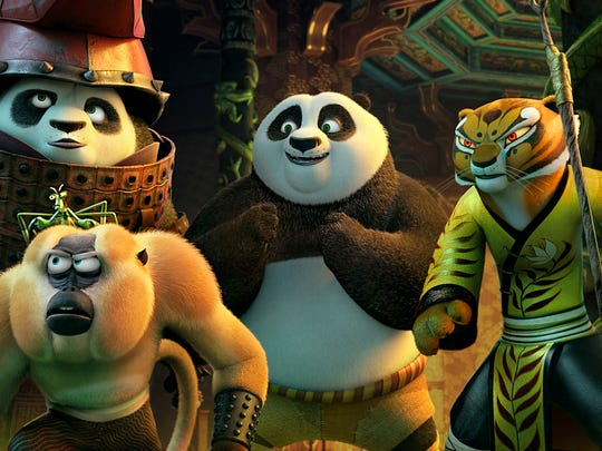 Crane (from left, voiced by David Cross), Viper (Lucy Liu), Li (Bryan Cranston), Mantis (Seth Rogen), Monkey (Jackie Chan), Po (Jack Black), Tigress (Angelina Jolie), and Shifu (Dustin Hoffman) in 'Kung Fu Panda 3.'