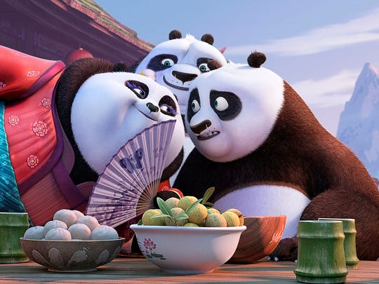Mei Mei (voiced by Kate Hudson) makes eyes at Po (Jack