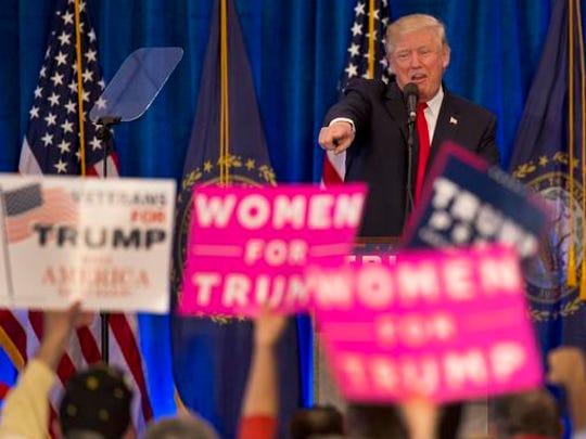 Republican presidential candidate Donald Trump acknowledges