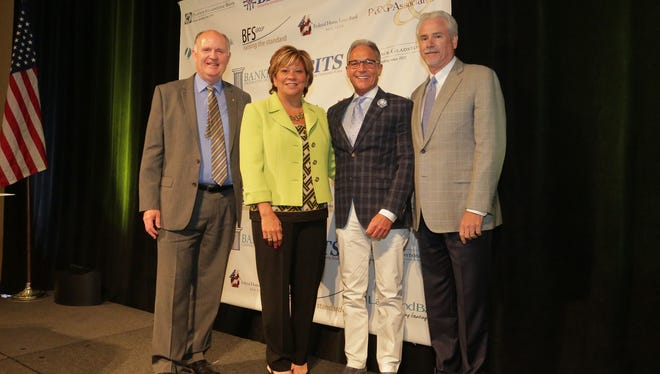New Jersey Bankers Association recently installed new officers. Pictured from left to right are  Gerald Reeves, NJBankers immediate former chairman and president-CEO, Sturdy Savings Bank; new Chairwoman Angela Snyder, chairwoman-CEO, Fulton Bank of New Jersey; First Vice Chairman James Vaccaro, chairman-president-CEO, Manasquan Bank, and Second Vice Chairman William Moss, president-CEO, Two River Bancorp.