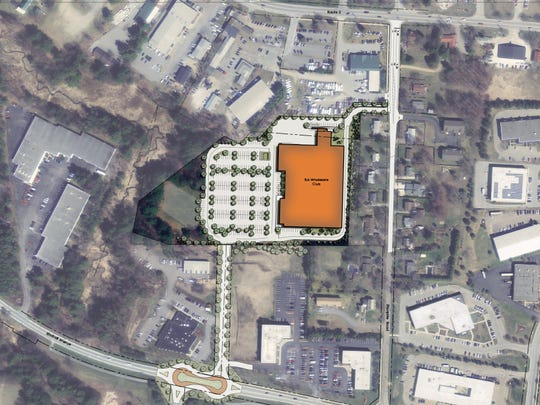 A map of the proposed BJ's Wholesale Club location