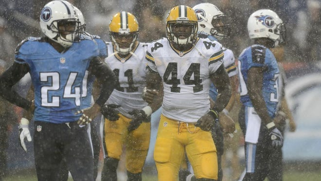 Green Bay Packers running back James Starks (44) runs off the field after scoring a touchdown on a 20-yard run against the Tennessee Titans in the first quarter of a preseason NFL football game Saturday, Aug. 9, 2014, in Nashville, Tenn. (AP Photo/Mark Zaleski)