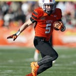 Wide receiver Ed Eagan of Northwestern State (5) runs for a first down during the Senior Bowl on Jan. 30 in Mobile, Alabama.
