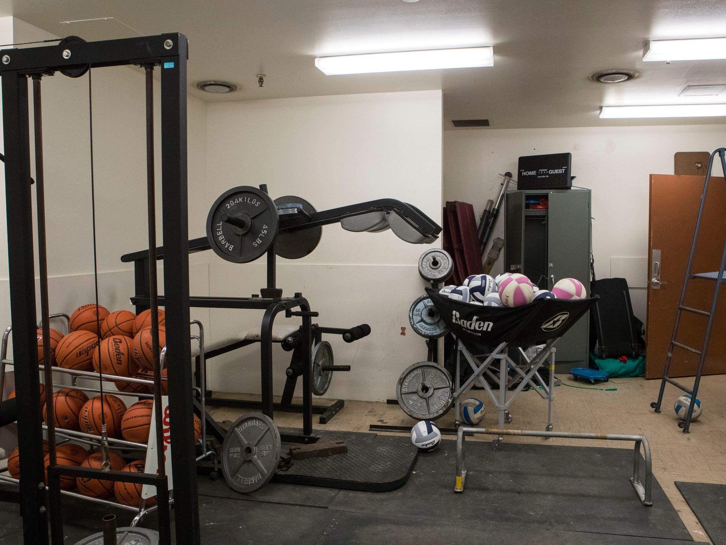 The weight room at Crazy Horse High School Monday,