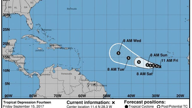 The National Hurricane Center is forecasting the 2017 season's 12th named storm - Tropical Storm Lee - to form on Friday, Sept. 15, 2017.