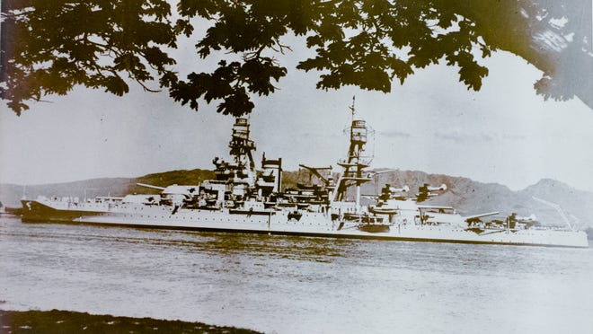 The USS Arizona floats near Pearl Harbor in a photo taken by a Japanese spy sometime before December 7, 1941.