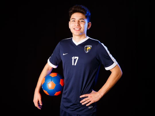 Kevin Hernandez, a Stayton High School junior, is the winner of Boys Soccer Player of the Year for the 2018 Statesman Journal Mid-Valley Sports Awards. Photographed at the Statesman Journal in Salem on Friday, Feb. 2, 2018.