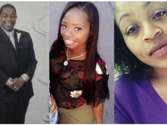 The Wayne County Medical Examiner's Office identified the victims as Ja-Mon Thomas, 22,  not pictured, Raphael Hall, 60, left,, Cierra Bargainer, 24,center, and Kristin Thomas, 21.