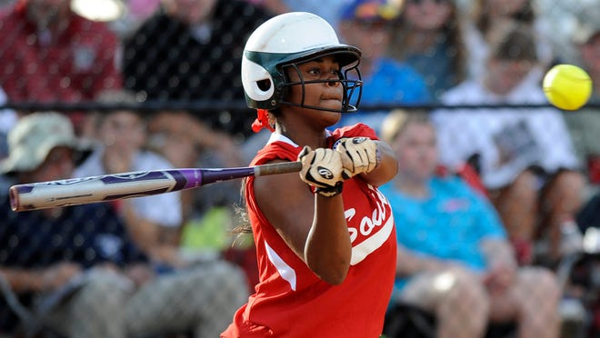 South's Kaylin Finch of Jeff Davis is the South's MVP of Tuesday's Alabama All-Star Sports Week softball game at Lagoon Park.