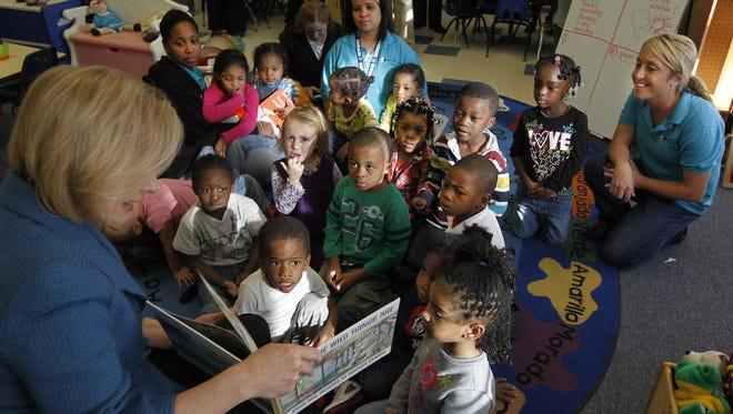 U.S. Sen. Kirsten Gillibrand reads stories to a prekindergarten class during a 2009 visit to Wilson Commencement Park.