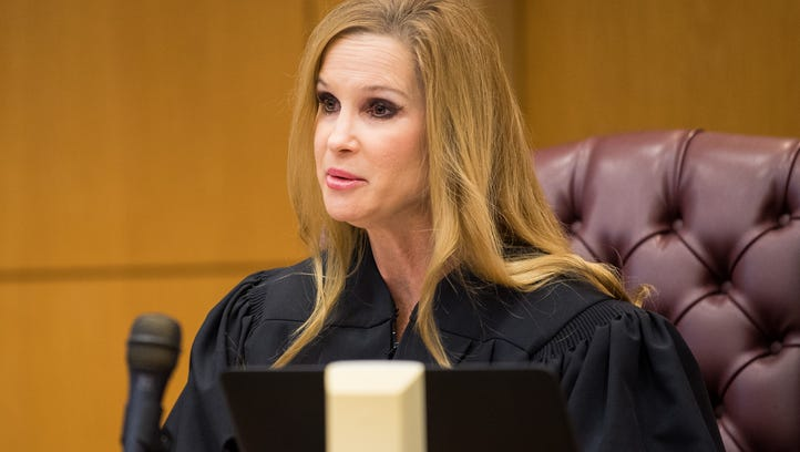 Judge Deanna Johnson speaks during a hearing related