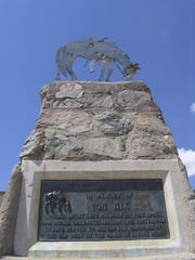 The Tom Mix Memorial stands just off State Route 79