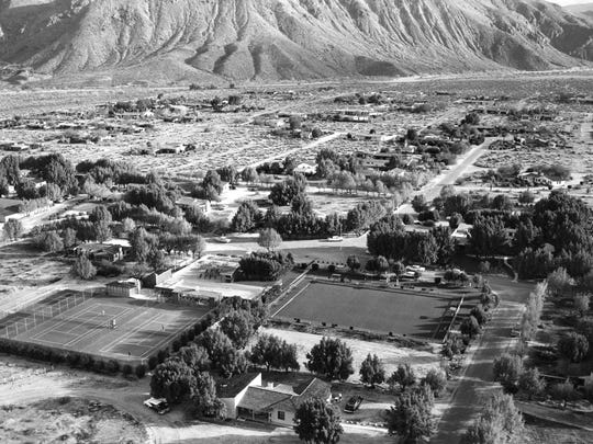 Aerial view of Smoke Tree Ranch with the Bowling Green