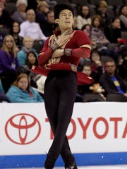 Nathan Chen performs during the men's free skate competition