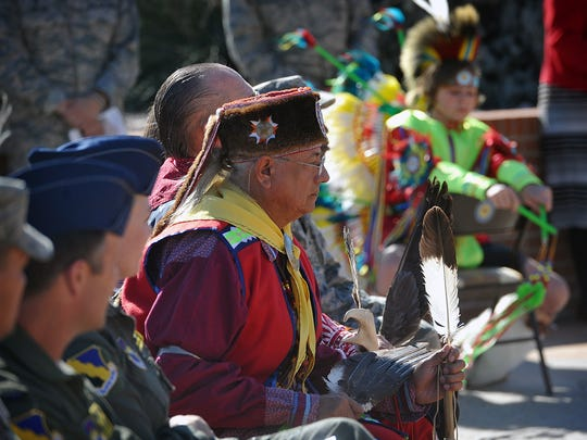 Four members of the Red River Intertribal Club participated in a wreath laying ceremony and Native American drum dance Thursday morning at Sheppard Air Force Base. The event marked the contributions American Indians have made to the U.S. armed forces.