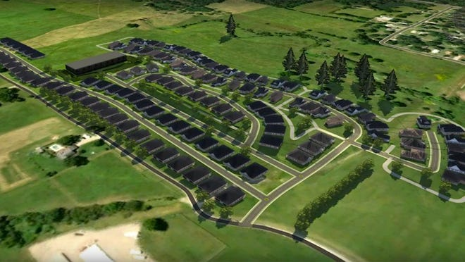 An artist's rendering shows what the Villas at Creekside 55-and-older gated community is expected to look like.