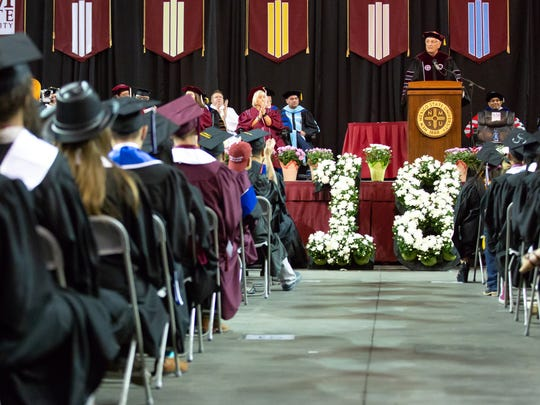 New Mexico State University Chancellor Garrey Carruthers speaks during Spring 2018 commencement on Saturday, May 12 at the Pan American Center in Las Cruces.