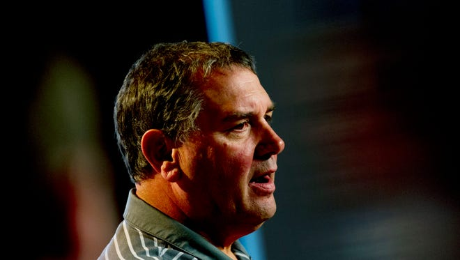 Brady Hoke, shown here in November while serving as Tennessee's interim coach, addresses the media ahead of the LSU game during a press conference at the Ray and Lucy Hand Digital Studio.