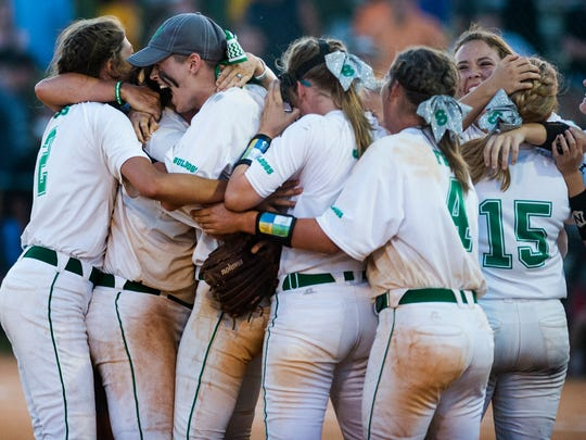 Brantley players celebrate as they win the 1A State Championship in the AHSAA State Softball Tournament at Lagoon Park in Montgomery, Ala., on Thursday May 19, 2016.