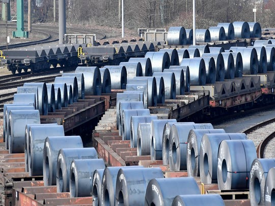 Steel coils sit on wagons when leaving the thyssenkrupp