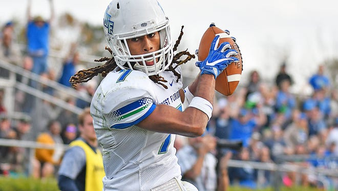 University of West Florida receiver Antoine Griffin hauls in a pass against No. 16 Wingate on Nov. 18, 2017.