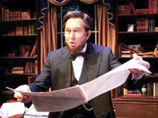 "Veteran stage, screen, and television actor, Granville Van Dusen, in his one-man show for ""The Memoirs of Abraham Lincoln."""