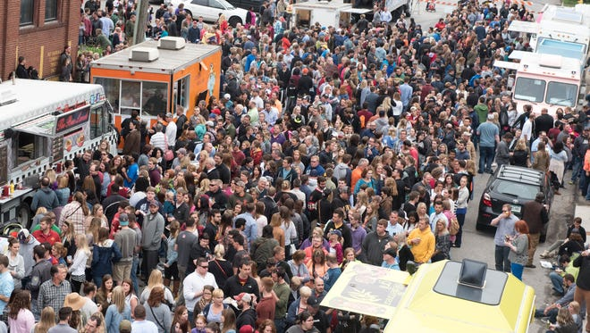 The street view on Saturday, May 30, 2015, during the Food Truck Throw Down held at the Des Moines Social Club.