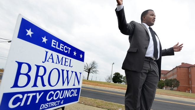 Jamel Brown announces that he is running for Montgomery City Council in Montgomery, Ala. on Monday February 16, 2015.