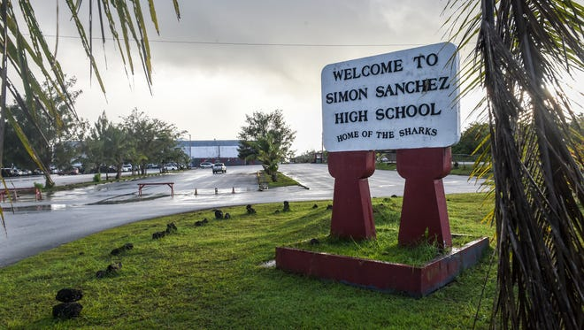 The entrance to Simon Sanchez High School is shown in this file photo.