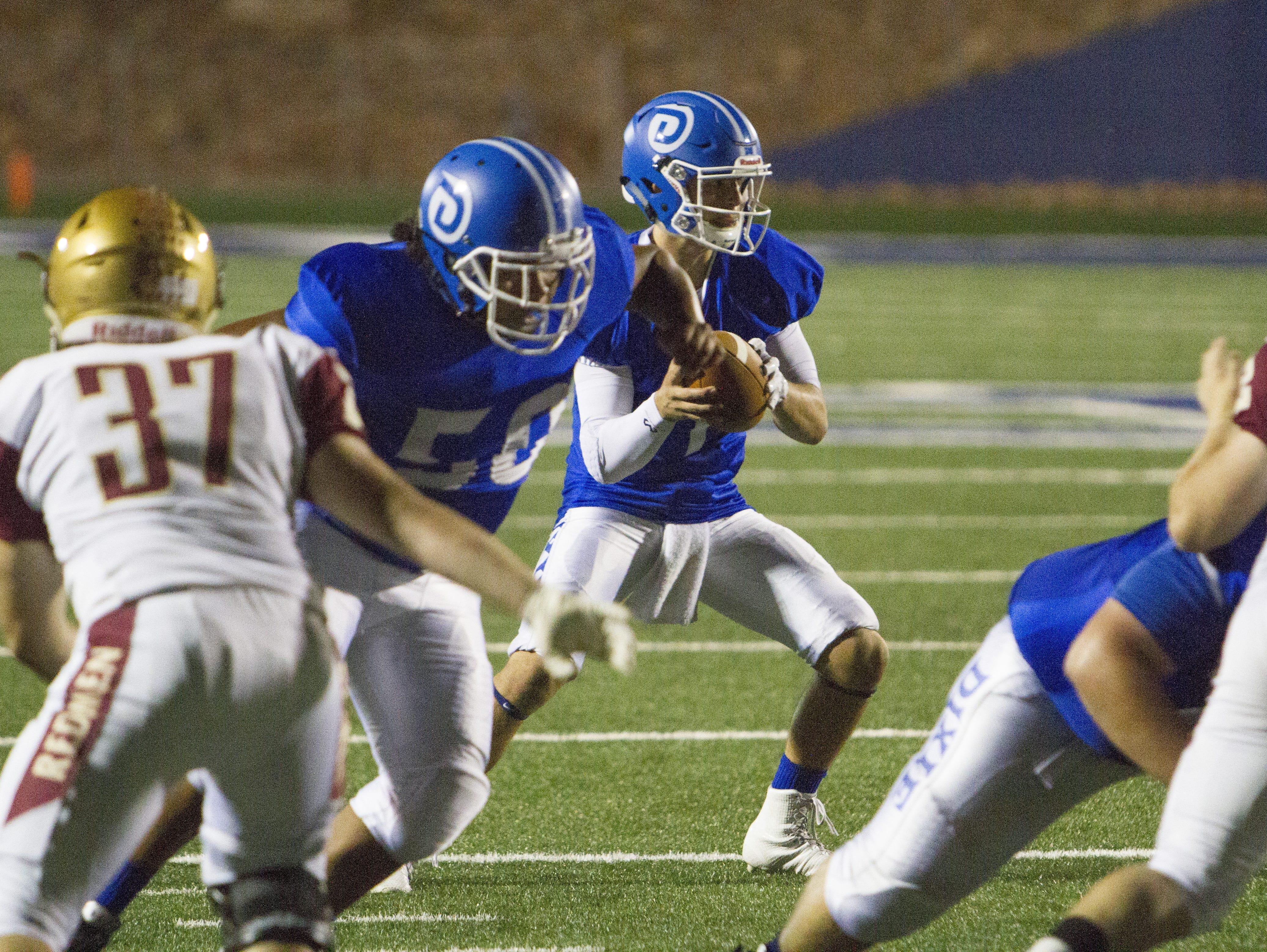 Dixie quarterback Zak Harrah has 18 touchdown passes and one interception through six games in 2015.