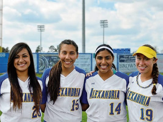 Former El Paso high school standouts, left to right, Kim Gonzalez and Paulean Gonzalez from Americas, and Raquel Granados and Julinn Torres, from Hanks, will compete for LSU-Alexandria's at the NAIA Softball World Series.