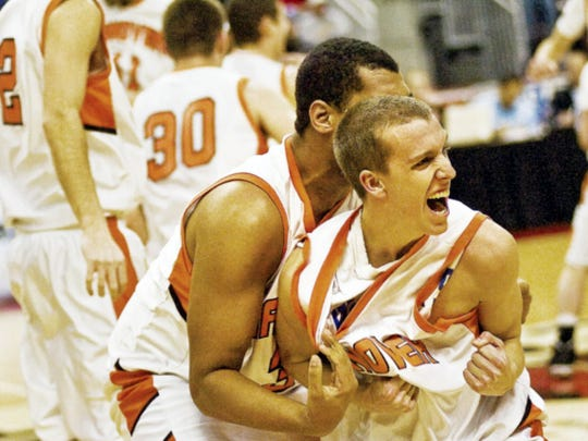 Hanover's Pete Yingst and John Perdue react after the