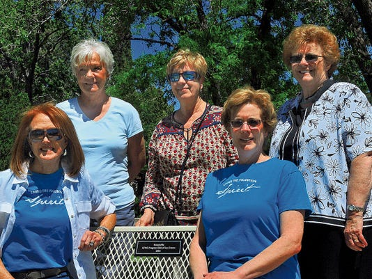 Jaime Guzman for the Sun-News      The Officers for the GFWC Progress Club of Las Cruces sit on the bench their club just donated to Pioneer Park.  (From left to right) Valerie Redington, Marty Jenssens, Marguerta Herman, Jean Frizzell and Sally Harper.