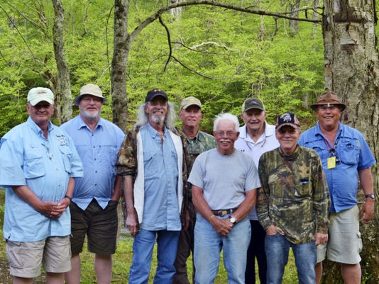 The camp crew included, from left to right, Bob Ballantyne, Jay Jackson, Dave Wolf, Pete Ryan, Ray Jobe, Karl Gebhart, Kevin Huegel and Karl Power.