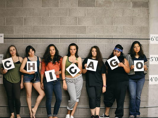 """Among stars of the large cast of """"Chicago,"""" opening today at the ASNMSU Center for the Arts, are, from left, Nichole Holguin, Rachel Edwards, Nicole Bartlett, Melis White, Alex Wheeler, Marybeth Torres and Cindy Pitts."""