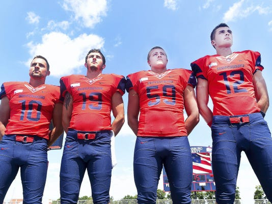 Chad Miller, left, J.T. Hopple, Dylan Herb, and Ryan Martin are local players who hope to make an impact with the Shippensburg University football team this season.