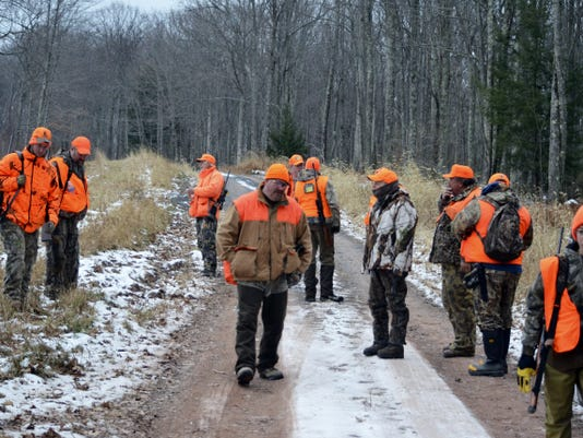 A group of black bear hunters finish a drive in the northwoods of Pa.