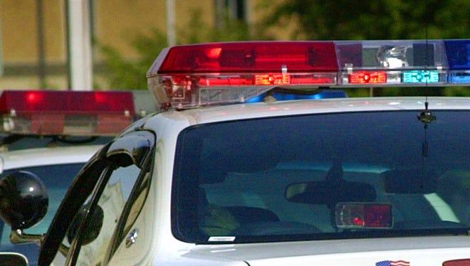 Lights on a police squad car.
