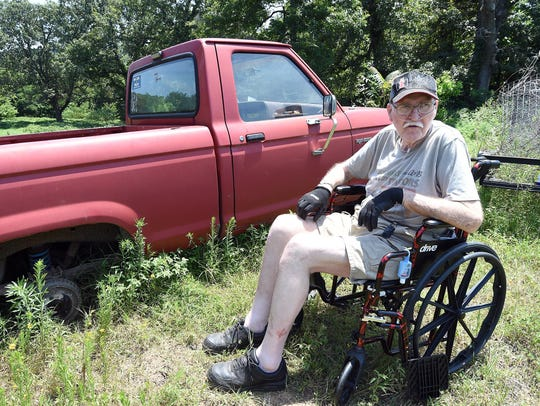 Richard Albertson, 68, of Gassville, Arkansas, talks about a theft of tires and rims from his 1988 Ford Ranger.