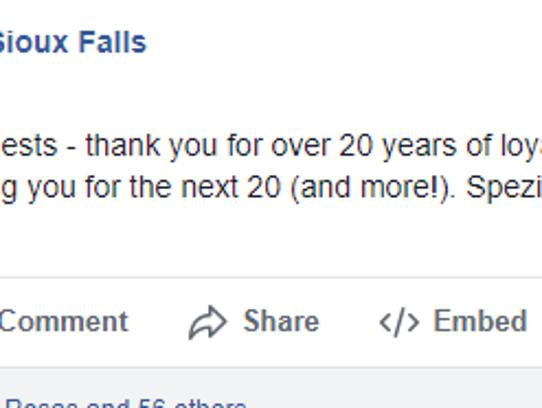 Screenshot of Spezia's Facebook post announcing the