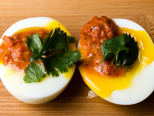 These soft-boiled eggs with romesco sauce are perfect