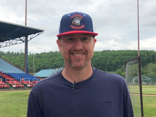 Elmira Pioneers manager Matt Burch at Dunn Field on